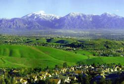 City of Chino Hills with Mountains Behind the City